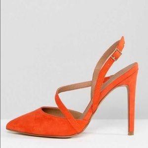 ASOS Parton Asymmetrical Pump - Tangerine Size 7 W